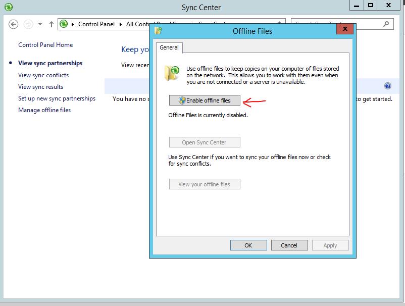 Enable Offline file on Windows Server 2012 - Enable Offline